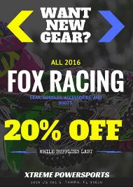 Flyer image for the Want New Gear Fox Racing Promo